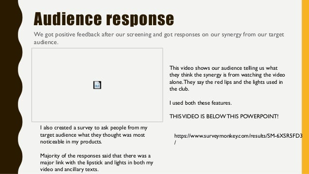 Audience response We got positive feedback after our screening and got responses on our synergy from our target audience. ...