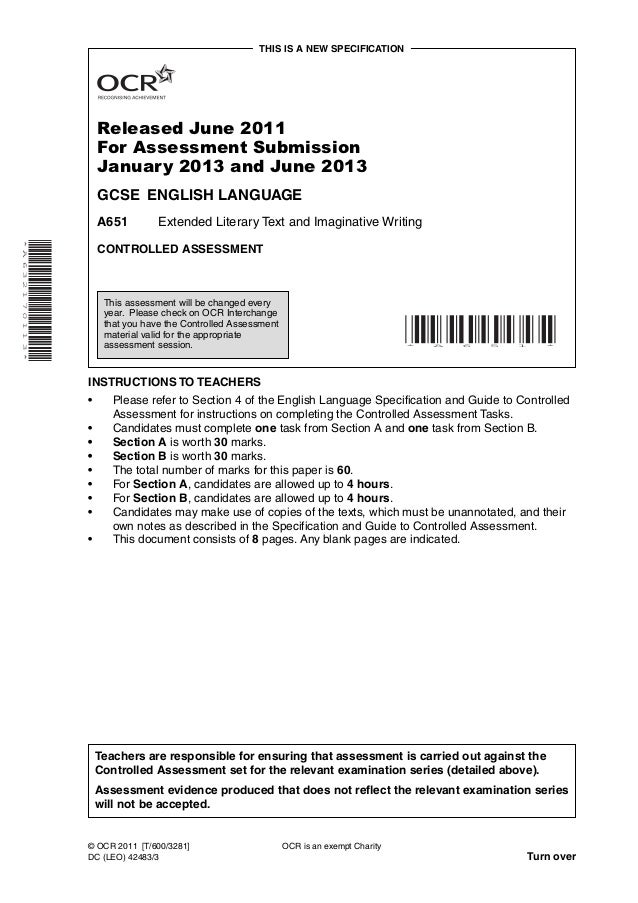 THIS IS A NEW SPECIFICATION                              Released June 2011                              For Assessment Su...