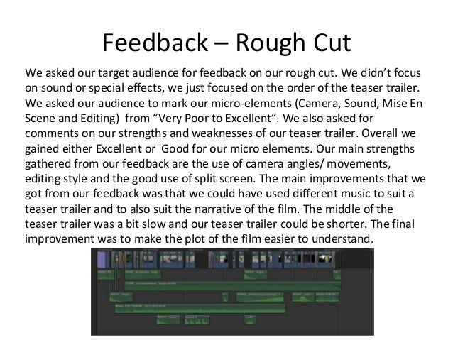 Feedback – Rough Cut We asked our target audience for feedback on our rough cut. We didn't focus on sound or special effec...