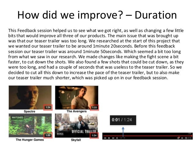 How did we improve? – Duration This Feedback session helped us to see what we got right, as well as changing a few little ...