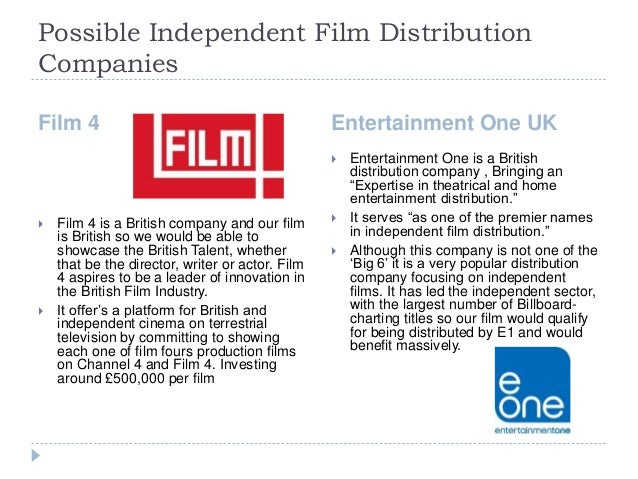 Possible Independent Film Distribution Companies Film 4 Entertainment One UK  Film 4 is a British company and our film is...