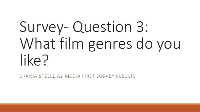Survey- Question 3: What film genres do you like? SHANIA STEELE A2 MEDIA FIRST SURVEY RESULTS