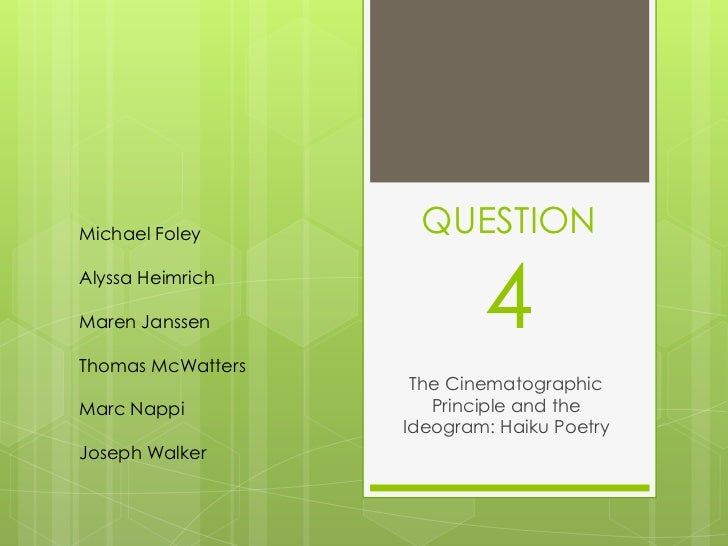 Michael Foley       QUESTIONAlyssa HeimrichMaren JanssenThomas McWatters                           4                    Th...