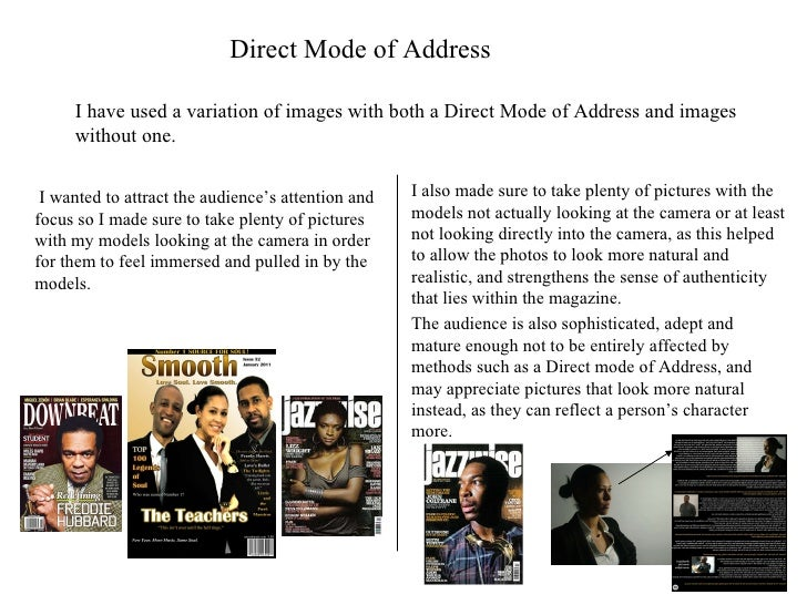 Direct Mode of Address I have used a variation of images with both a Direct Mode of Address and images without one. I want...