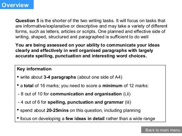Aqa English Exam Foundation Question 5