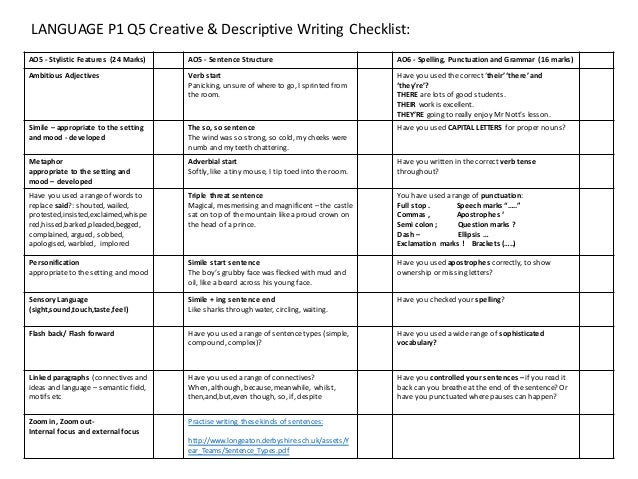 Language Paper 1 Q5 Checklist Tasks