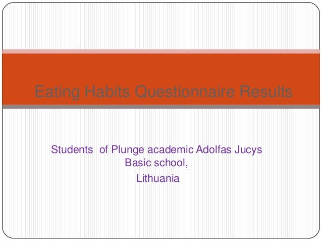 Eating Habits Questionnaire Results  Students of Plunge academic Adolfas Jucys Basic school, Lithuania