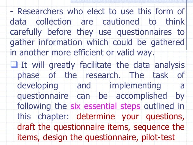 questionnaires 6 steps for research method