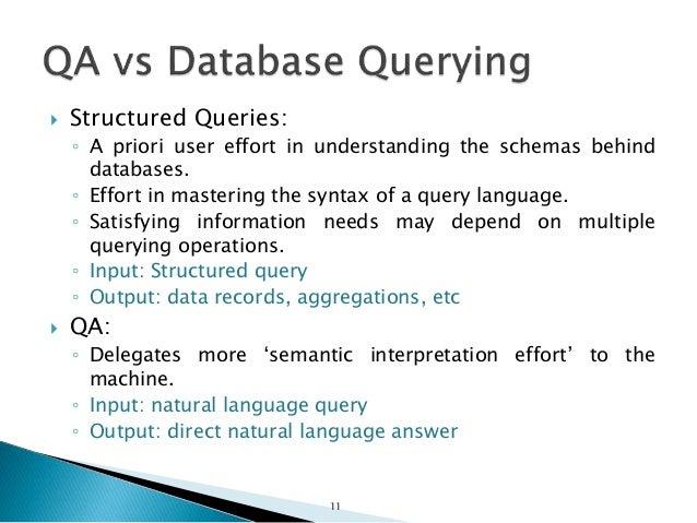  Structured Queries: ◦ A priori user effort in understanding the schemas behind databases. ◦ Effort in mastering the synt...
