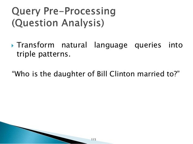  Step 1: POS Tagging ◦ Who/WP ◦ is/VBZ ◦ the/DT ◦ daughter/NN ◦ of/IN ◦ Bill/NNP ◦ Clinton/NNP ◦ married/VBN ◦ to/TO ◦ ?/...