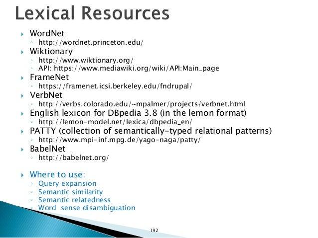  Lucene & Solr ◦ http://lucene.apache.org/  Terrier ◦ http://terrier.org/  Where to use: ◦ Answer Retrieval ◦ Scoring ◦...