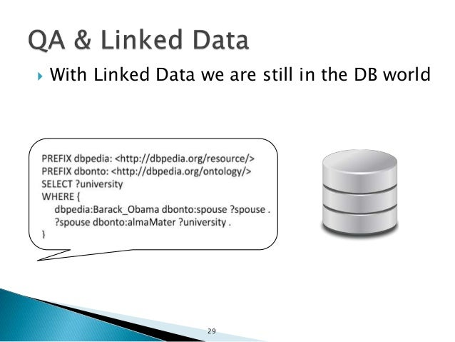  With Linked Data we are still in the DB world  (but slightly worse) 30