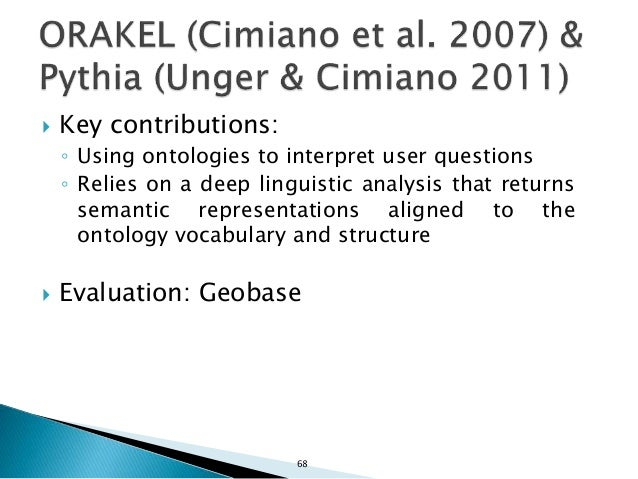 69  Ontology-based QA: ◦ Ontologies play a central role in interpreting user questions ◦ Output is a meaning representati...