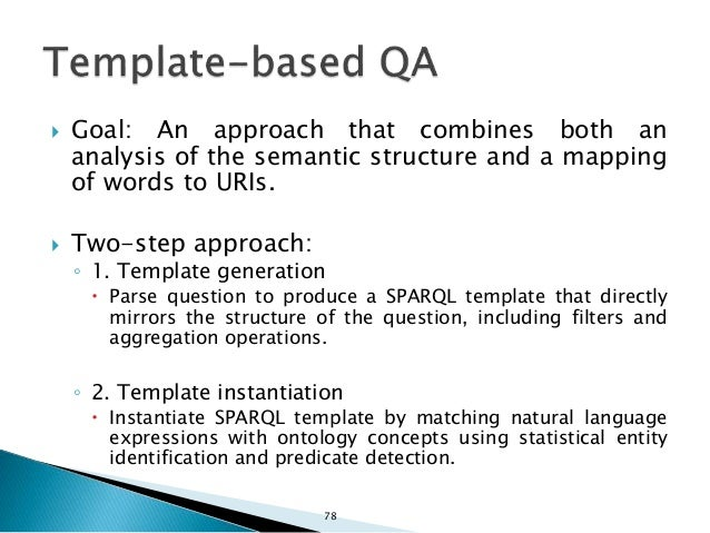 SPARQL template: SELECT DISTINCT ?x WHERE { ?y rdf:type ?c . ?y ?p ?x . } ORDER BY DESC(COUNT(?y)) OFFSET 0 LIMIT 1 ?c CLA...