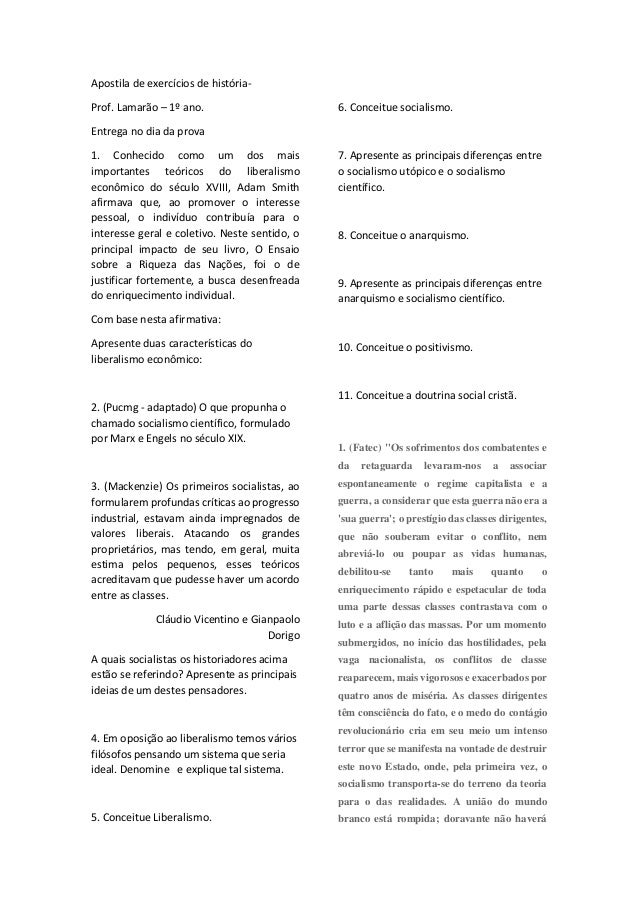 Apostila de exercícios de história- Prof. Lamarão – 1º ano. Entrega no dia da prova 1. Conhecido como um dos mais importan...
