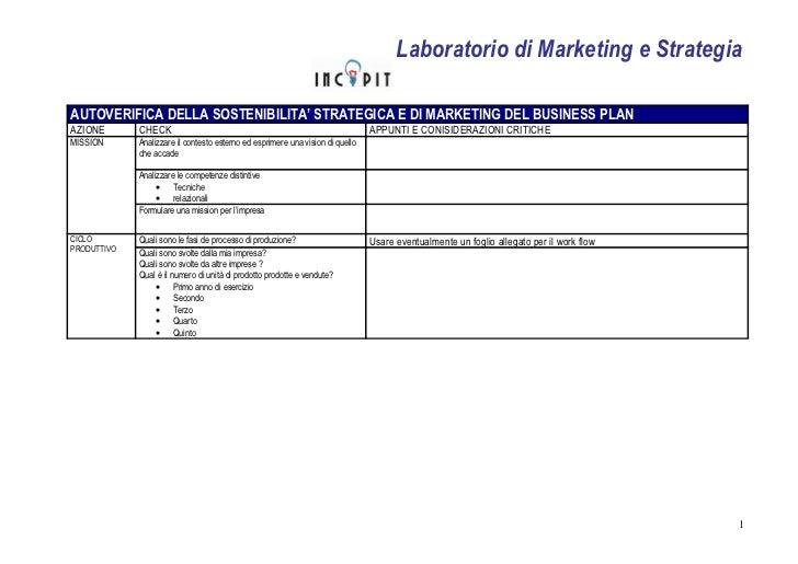Questionario business plan marketing e strategia