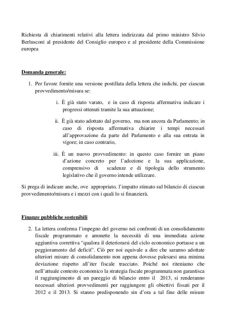 Richiesta di chiarimenti relativi alla lettera indirizzata dal primo ministro SilvioBerlusconi al presidente del Consiglio...