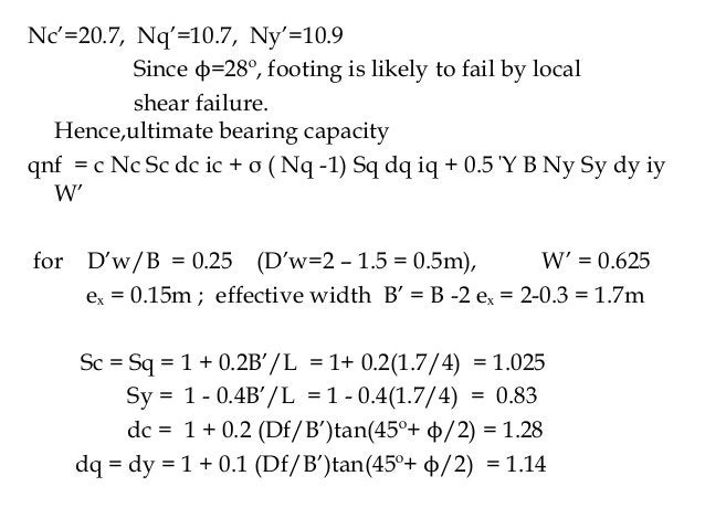 Nc'=20.7, Nq'=10.7, Ny'=10.9 Since ϕ=28º, footing is likely to fail by local shear failure. Hence,ultimate bearing capacit...
