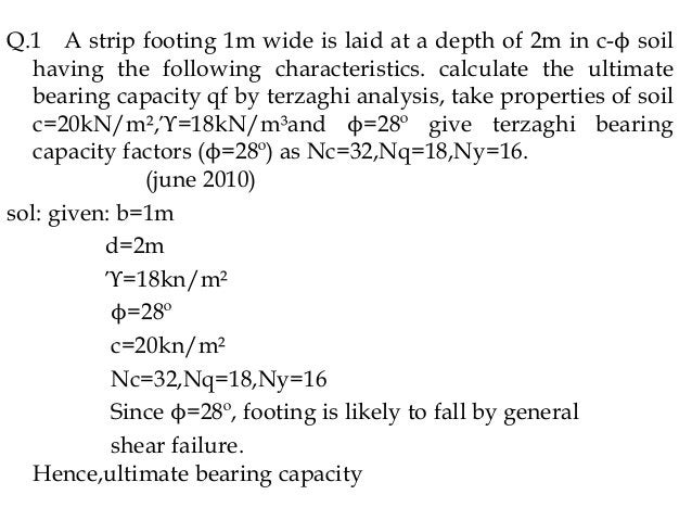 Q.1 A strip footing 1m wide is laid at a depth of 2m in c-ϕ soil having the following characteristics. calculate the ultim...