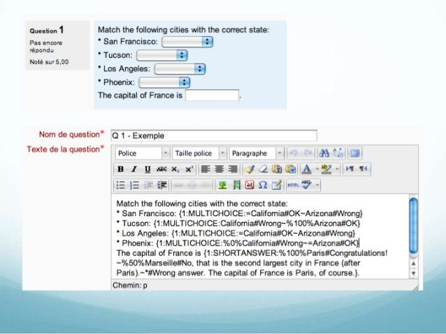 Réponse courteLa réponse courte crée un champ où l'étudiant inscrit saréponse. Voici la syntaxe à utiliser pourcréer une r...