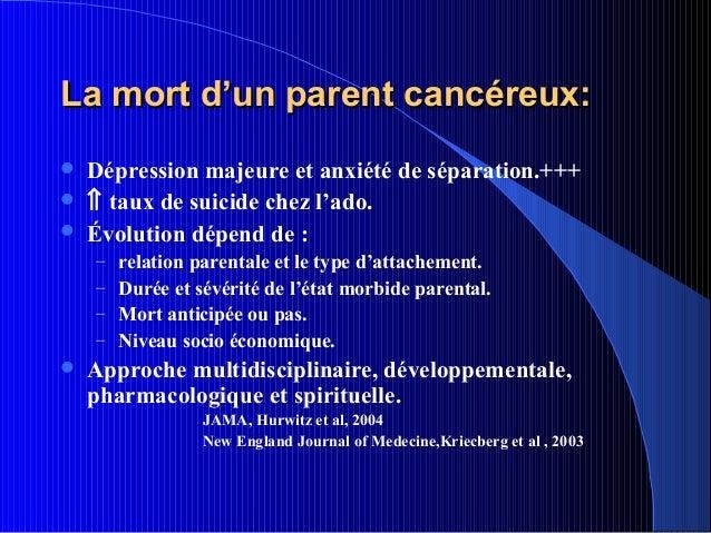 La mort d'un parent cancéreux:   Dépression majeure et anxiété de séparation.+++   ⇑ taux de suicide chez l'ado.   Évol...