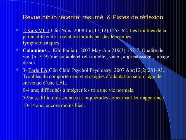 Revue biblio récente: résumé. & Pistes de réflexion 1-Kars MC;J Clin Nurs. 2008 Jun;17(12):1553-62. Les troubles de la  p...
