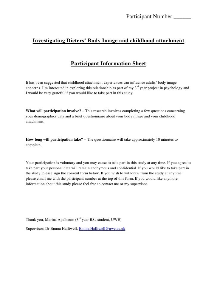 Investigating Dieters' Body Image and childhood attachment <br />Participant Information Sheet <br />It has been suggested...