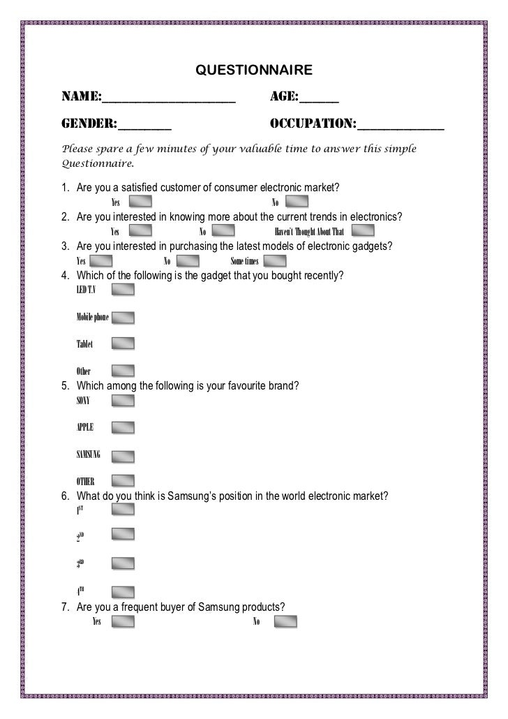 Questionnaire for the survey of electronics market for for Template of a questionnaire