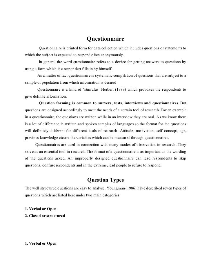 Questionnaire for Cover letter for questionnaire surveys