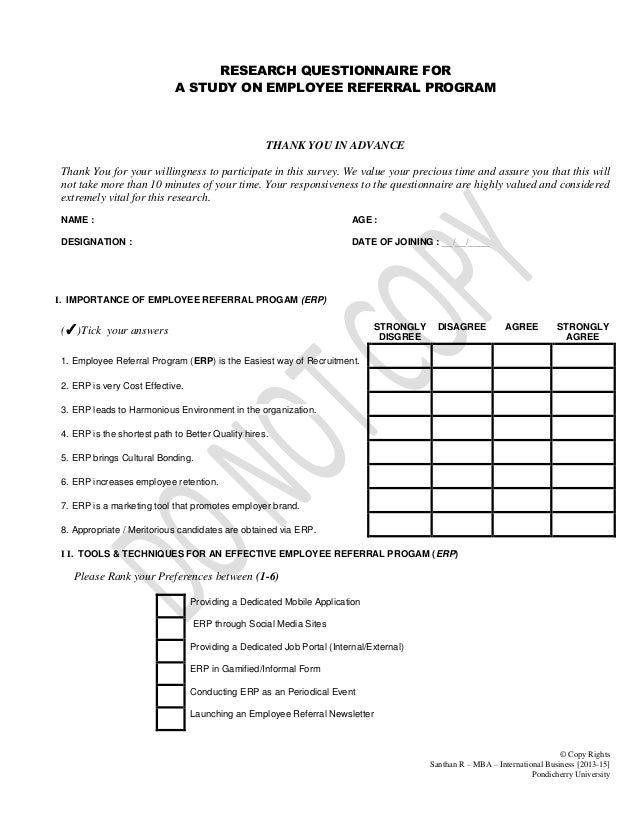 questionnaire for employee retention