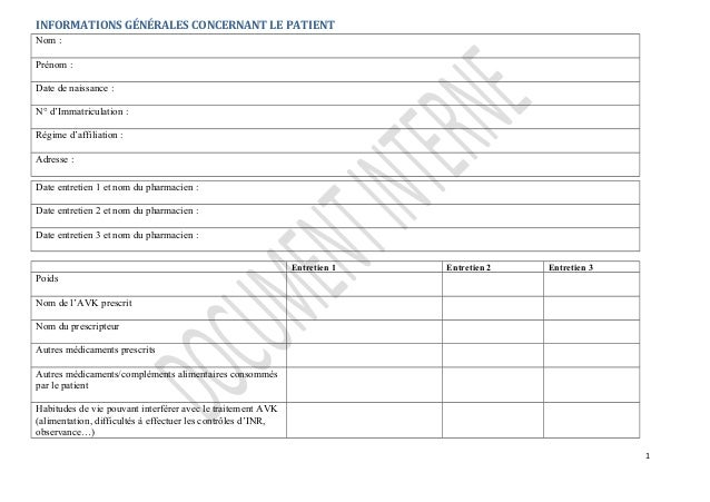 INFORMATIONS GÉNÉRALES CONCERNANT LE PATIENT Nom : Prénom : Date de naissance : N° d'Immatriculation : Régime d'affiliatio...