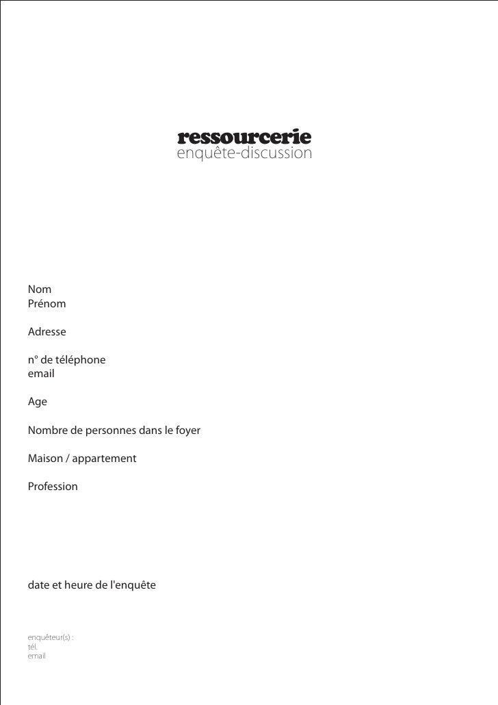 ressourcerie     Nom Prénom  Adresse  n° de téléphone email  Age  Nombre de personnes dans le foyer  Maison / appartement ...