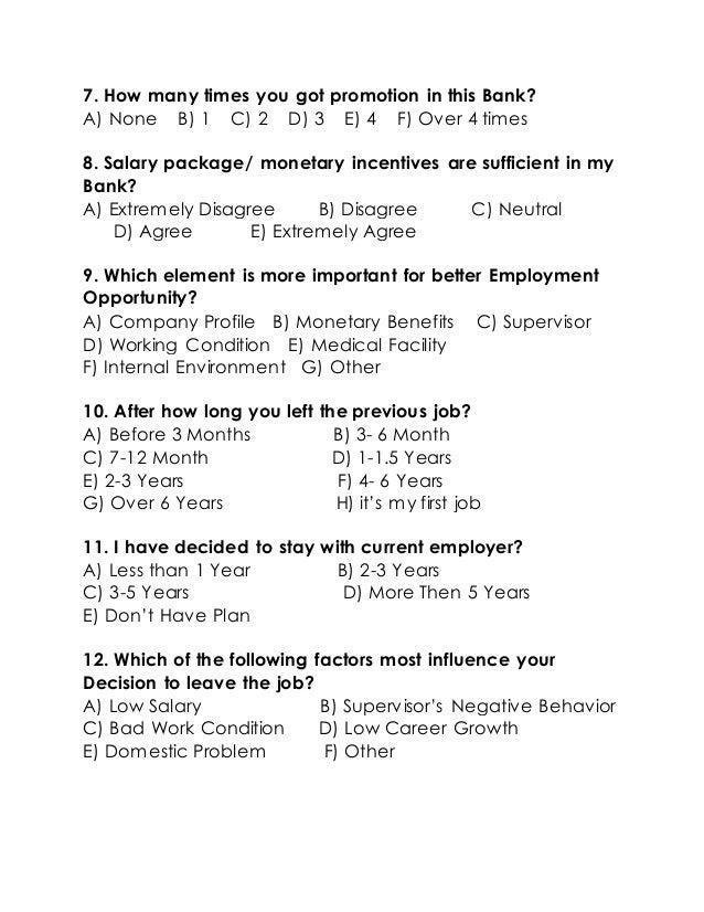 student retention questionnaire