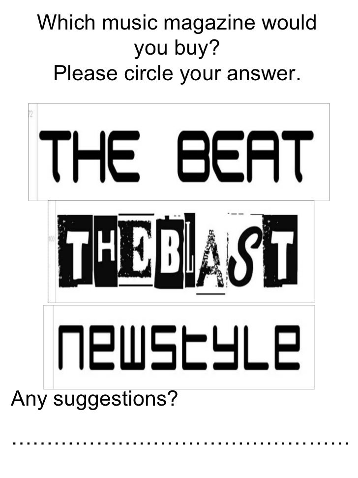 Which music magazine would you buy? Please circle your answer. Any suggestions?  …………………………………………