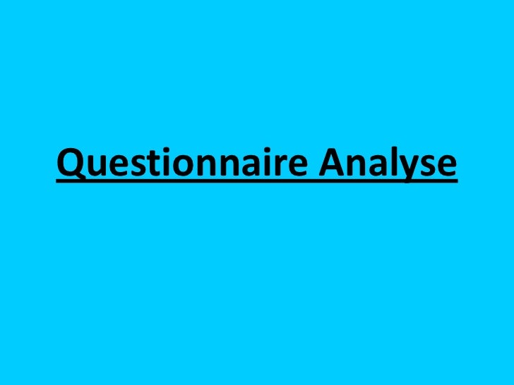 Questionnaire Analyse