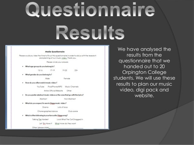We have analysed the results from the questionnaire that we handed out to 20 Orpington College students. We will use these...