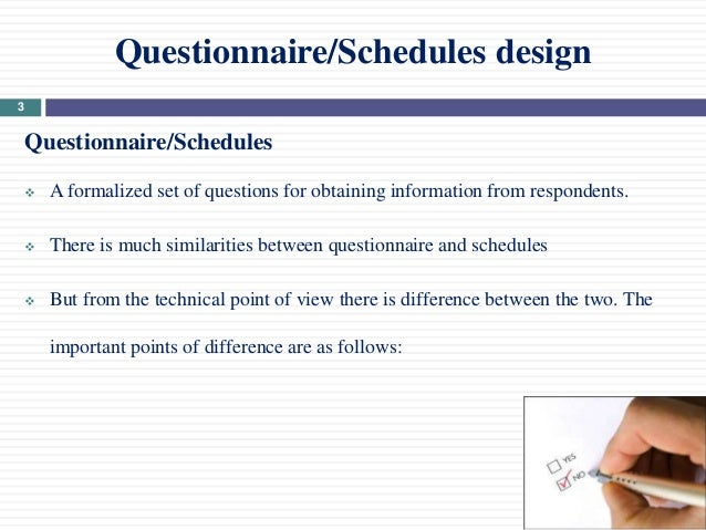 questionnaire schedule design 2 3