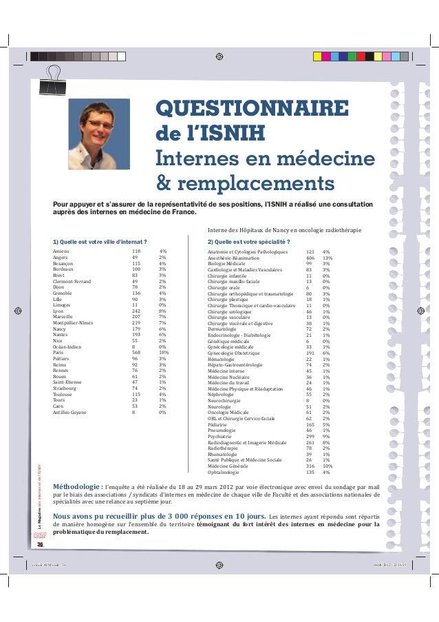 Le Magazine des internes et de l'ISNIH  36  QUESTIONNAIRE  de l'ISNIH  Internes en médecine  & remplacements  3RXUDSSXHUHW...