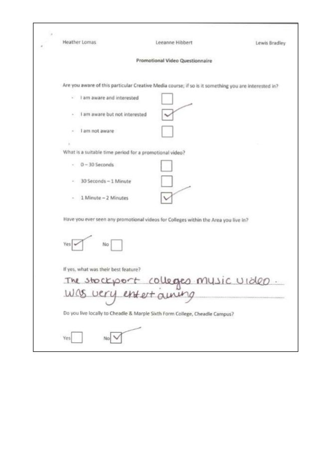 Questionnaire examples