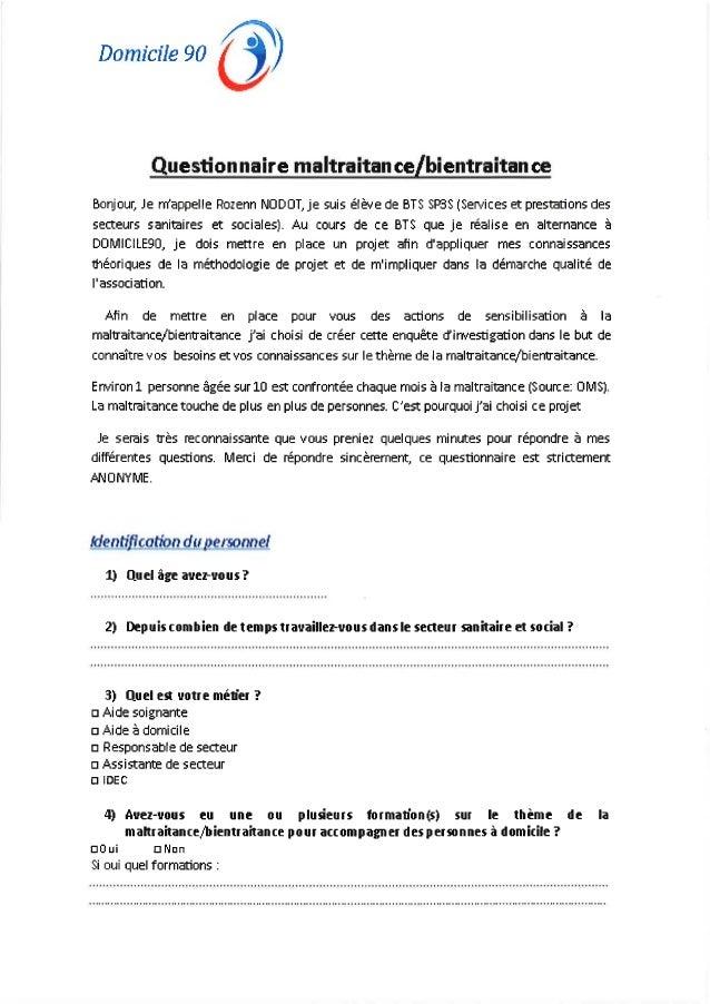Questionnaire maltraitance bientraitance