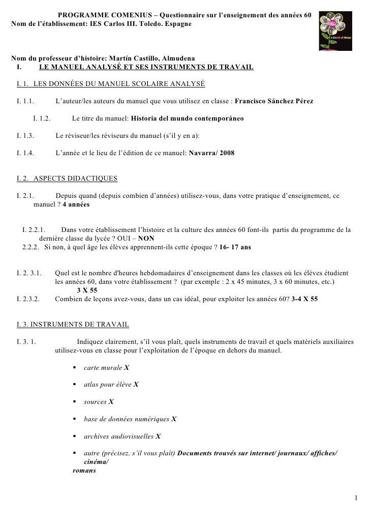 PROGRAMME COMENIUS – Questionnaire sur l'enseignement des années 60 Nom de l'établissement: IES Carlos III. Toledo. Espagn...