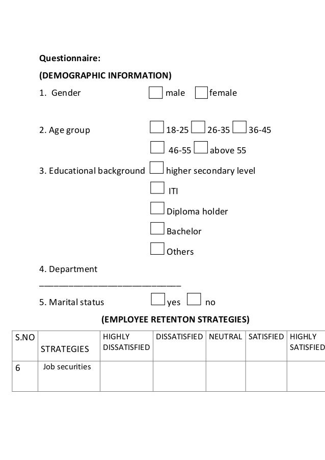 questionnaire demographic information 1 gender male female 2