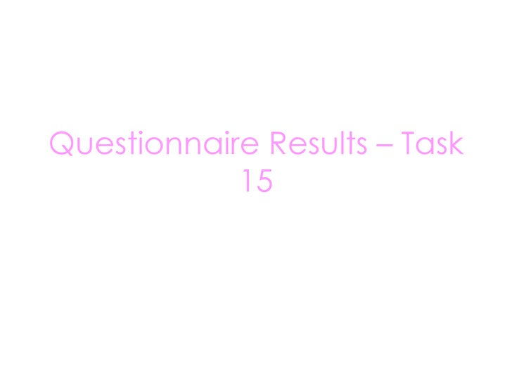 Questionnaire Results – Task 15