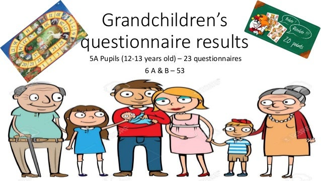 Grandchildren's questionnaire results 5A Pupils (12-13 years old) – 23 questionnaires 6 A & B – 53