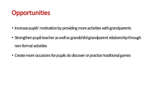 Opportunities • Increasepupils'motivationbyprovidingmoreactivitieswithgrandparents • Strengthenpupil-teacheraswellasgrandc...