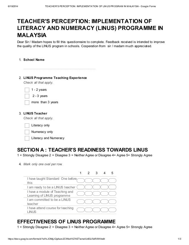 6/19/2014 TEACHER'S PERCEPTION: IMPLEMENTATION OF LINUS PROGRAM IN MALAYSIA - Google Forms https://docs.google.com/forms/d...