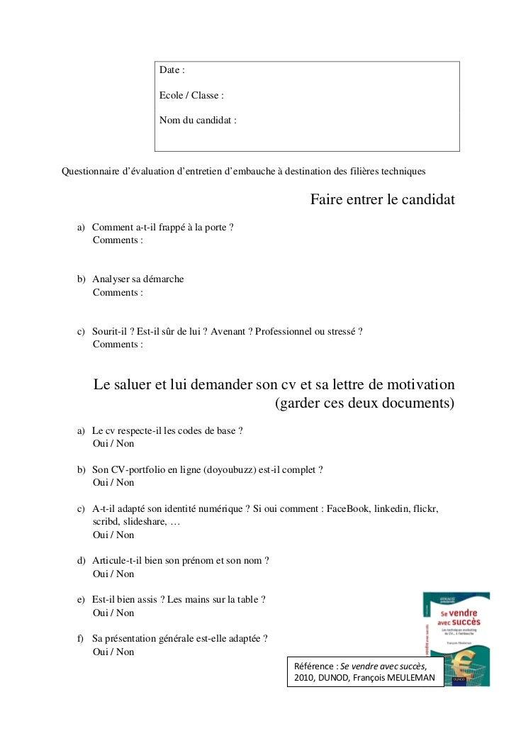 Date :                       Ecole / Classe :                       Nom du candidat :Questionnaire d'évaluation d'entretie...