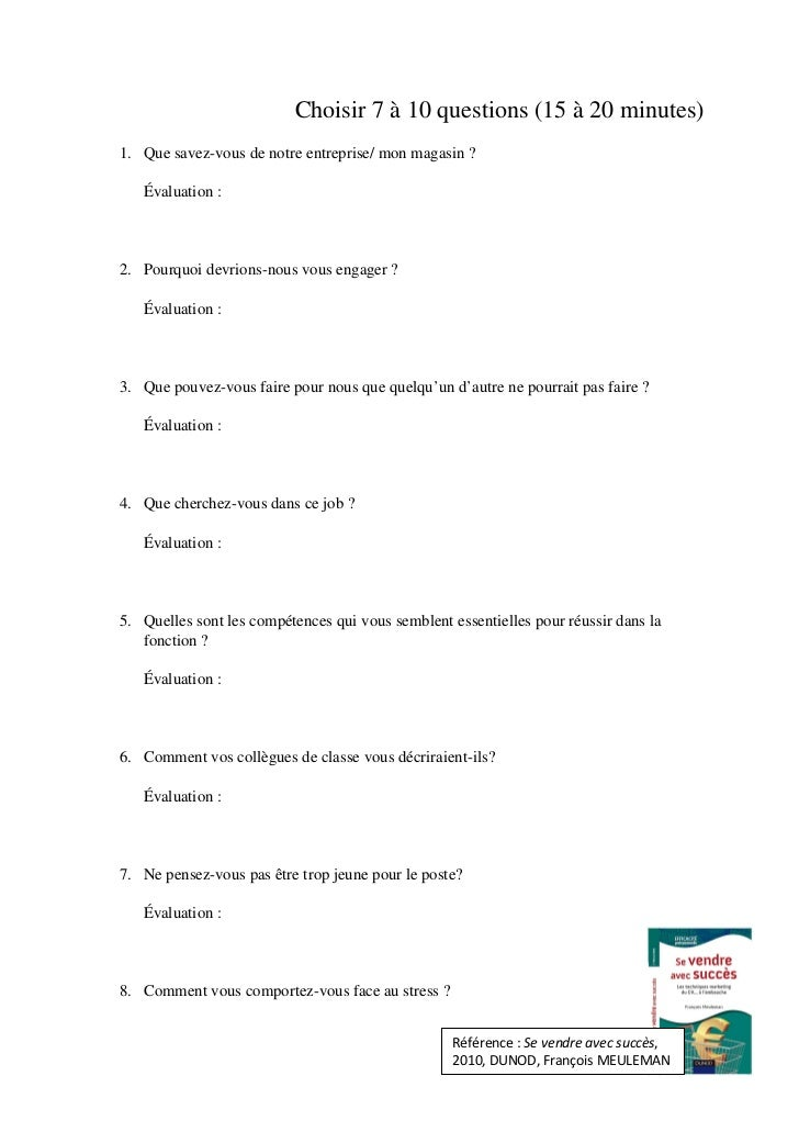 questionnaire  u00e9val entretien embauche pour  u00e9cole