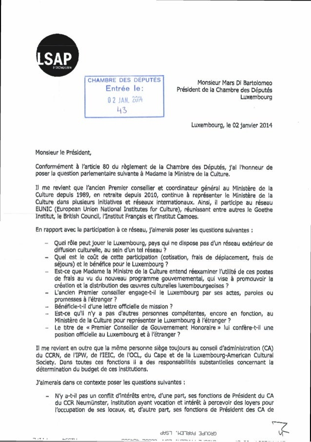 CHAMBRE DES DÉPUTÉS Entrée le:  0 2 JAN. 20(^  Monsieur Mars Di Bartolomeo Président de la Chambre des Députés Luxembourg ...