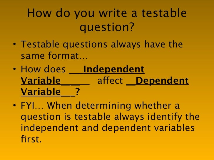 Writing A Testable Question Worksheet